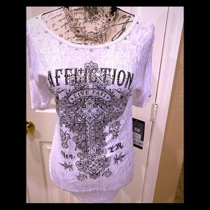 NWT AFFLICTION cold- shoulder top w/bling S